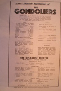 A programme for 'the gondoliers', which Sam produced